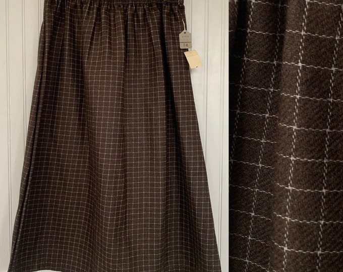 Vintage Deadstock 80s XS Plaid Skirt Brown White Check Below Knee Elastic Waist Boho 70s NOS Unique Polyester XXS 25 Christmas