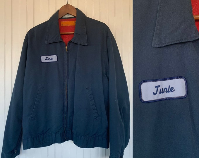 Vintage 90s Large Navy Blue Work Jacket Junie Patch Utility work Coat Mens 48 Unisex XL Grunge Worn In Lined