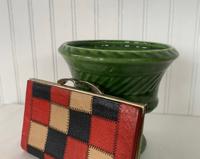 Vintage 60s 70s Patchwork Leather wallet with Coin Purse Red Black Beige Tilley Wallets Canada Boho Mod Seventies Unique mini Clutch