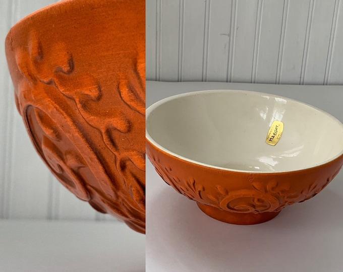 Deadstock Vintage 60s Haeger Burnt Orange Bowl Planter Scroll Floral Home Decor Wedding Gift Vases Mod Mid Century Indoor Plant Serving Dish