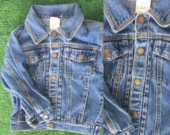 Vintage 90's Kids Faded Glory Blue Jean Denim Jacket Size 3 toddler Nineties 90s Unique Childrens Clothes Jeans Snaps 80s 3T
