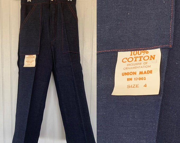 Vintage Deadstock 80s Kids Flare Denim Pants 4T Wide Leg Bell Bottoms Pockets Dark Blue Jeans 4 Toddler Elastic Waist Girls Boys NOS 70s