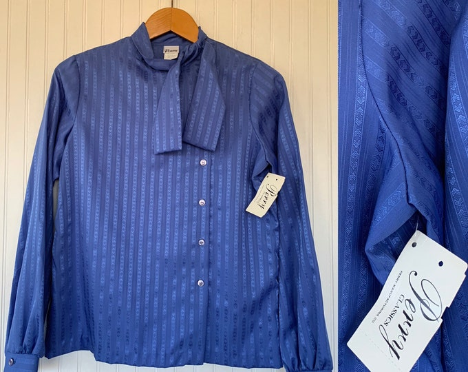 Vintage Periwinkle Blue Blouse Button Down Pussy Bow Tie Collared Top Medium M M/L Large L Deadstock Dress Shirt 70s 80s Secretary Pinup