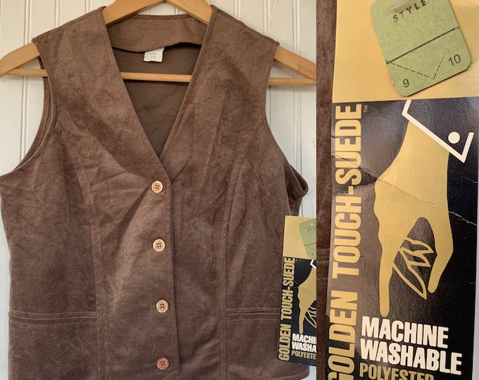 Vintage 70s Small Brown Button Down Micro Suede Vest V-Neck Small XS/S S Polyester Top Shirt 80s microsuede faux suede deadstock 34 Vests
