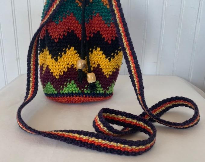 Vintage 90s Crochet Rainbow Shoulder Bag Bags Purse knit stripe small hippie festival zig zag