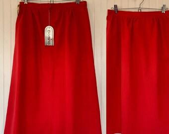 Vintage 80s Deadstock Red Skirt Medium Med M 28 Waist Pockets Below Knee New Tags Below Knee High Waisted 70s Boho