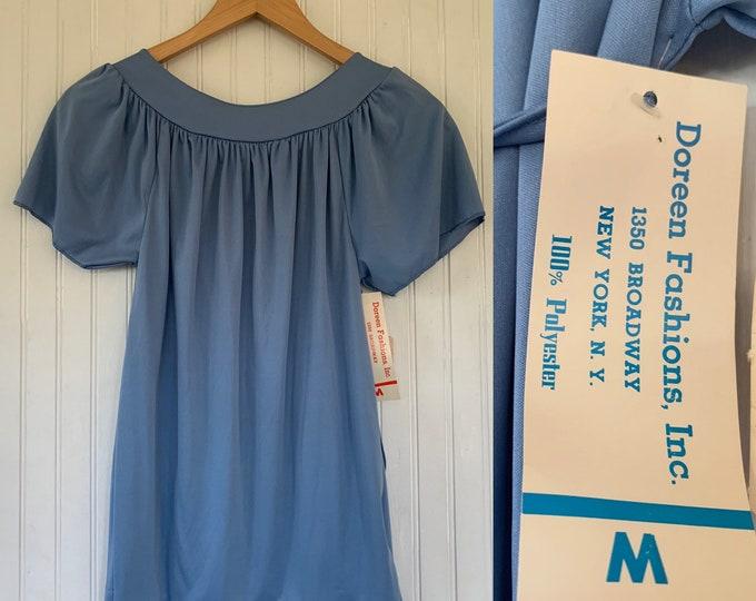 Vintage Deadstock 70s Medium Light Blue Peasant Top nos Tie Tops Med small S/M Short Sleeves 36 Boho Blouse Belt 80s Periwinkle Pastel