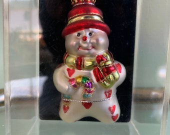 Vintage 90s Handcrafted Glass Snowman Christmas Ornament Holiday Snowmen Ornaments New Original Packaging Tree Decor Gift Candy Cane