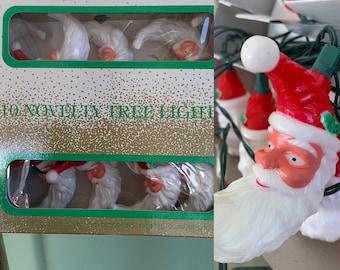 Vintage Set of 10 Santa Novelty Christmas Tree Lights Santa's World Moon Shaped Bearded Kris Kringle String Indoor Outdoor Decor Kitschy