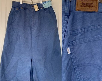 Rare Vintage Deadstock 70s Levis Gold Tab XS Small S Skirt Faded Light Blue 26 Waist Original Tag Denim Jean Skirts High Waisted Periwinkle