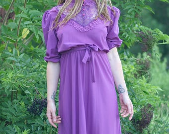 1979 Vintage Purple Trrific Lace Neck Victorian Style Boho Dress - Size 13 - Large- Deadstock NWT 70s Pinup Puff Sleeve