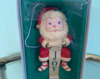 Vintage Santa Christmas Stocking Hanger Santa's List Joy Kitsch New in Original Box Gift