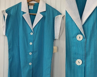NWT 80s Vintage Turquoise Blue White Striped Sleeveless Top Size Small Button Down Shirt S XS Stripes Deadstock Western Hipster 70s Gift