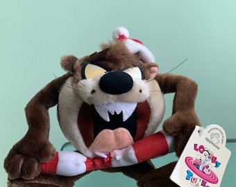 Vintage Holiday 90s NWT Mini Plush Tazmanian Devil Doll Taz Stuffed Animal Christmas Toy Stocking Stuffer Rare Gift Kids Toys Looney Tunes