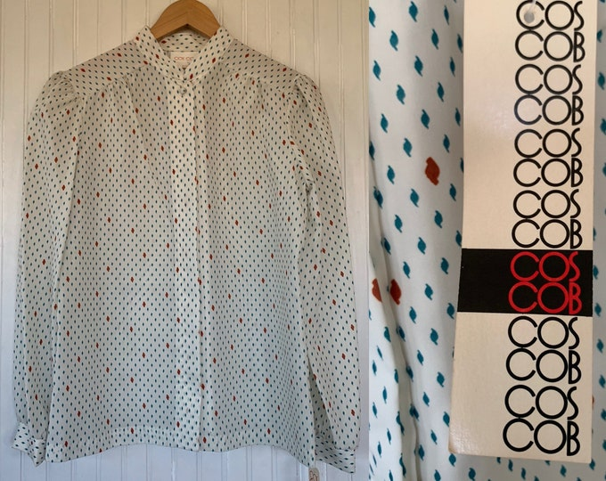 NWT Vintage Medium Puff Sleeve Shirt Ivory off white rust green patterned Deadstock Boho Secretary 36 Blouse S/M Med Groovy Top Abstract