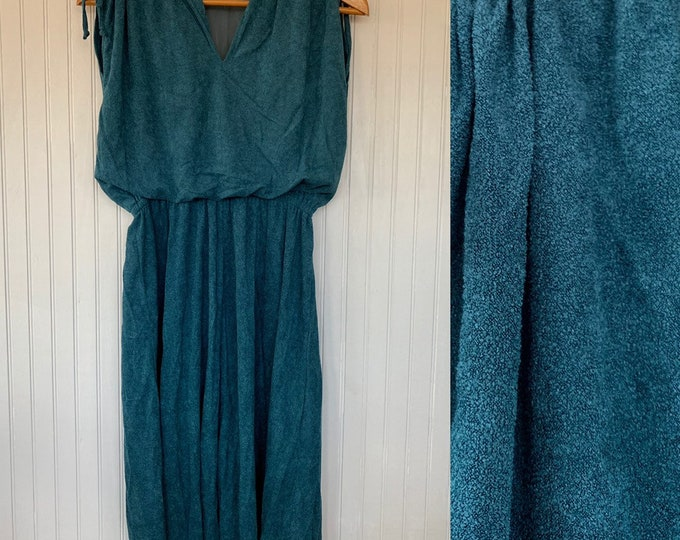 Deadstock Vintage XS Dark Teal Terry Cloth Dress Sportswear Eighties blue green Terrycloth Tennis Vacation 00 0 24 25 spring summer