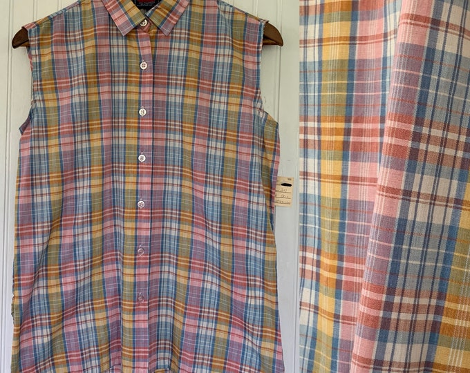 NWT 80s Vintage Plaid Sleeveless Top Size 34 Pink White Blue Yellow Button Down Small Medium Shirt S S/M Med Deadstock Western 70s Blouse