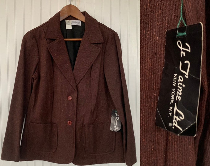 NWT Deadstock Vintage 80s Brown Blazer Tweed Jacket Pockets Medium Med M/L Large 38 Wool Silk Blend Jacket