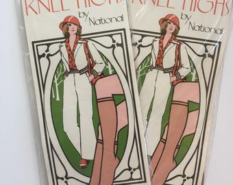 Brand New from 70s Lot of 2 Pairs Nude Knee High Stockings in original packaging unworn hosiery pantyhose vintage Seventies Stocking Stuffer