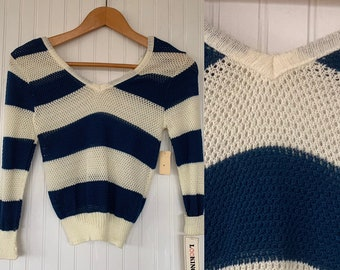 NWT Vintage 80s Blue Off White Sheer Mesh Knit Striped Shirt Sweater Small S XS Long Sleeves Shirts Deadstock Top Deep Vneck