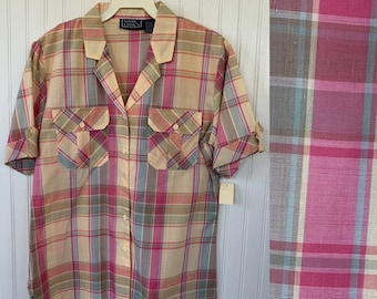 Vintage Deadstock 80s Yellow Pink Blue Plaid Check Short Sleeve Top Size Medium M Med button Down Shirt Deadstock Western Spring Summer
