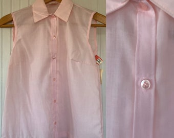 NWT 80s Vintage Pastel Pink Sleeveless Top Size Small Sheer Button Down Shirt S XS/S Deadstock nos 70s 34 Spring Summer Festival