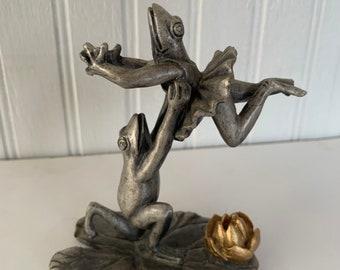 Vintage 90s Pewter Frog Ballerina Statue Ballerinas Pewter Gold Metal Dancing Amphibians Ballet Gifts SPI Gold Flower Home Decor