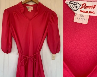 Vintage Deadstock 70s Sheer Large Hot Pink Peasant Top 3/4 Sleeve 70s nos Medium Tops M/L LG Med Short Puff Sleeves 38 Boho Blouse 80s