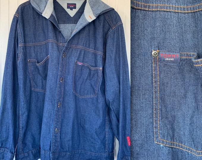 Vintage 90s Tommy Jeans Button Down Denim Shirt Hooded Large L Tommy Hilfiger Jean Shirts Nineties LG