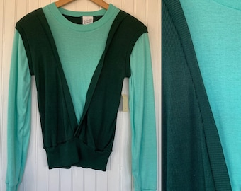 Vintage 70s Small Long Sleeve Top / Shirt Seafoam Hunter Green XS XS/S Sportswear Comfy Basics NOS 80s Pullover Sweater