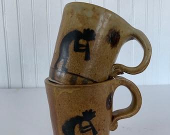 Vintage Dancing Kokopeli Hand Made Mug Set Signed Boho Gifts Handmade Art Ceramic Mugs Home Decor Hippie