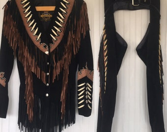 Vintage 80s 90s Size XS S Black Brown Fringe Suede Leather Jacket Chaps Set 26 25 27 Small Rare Western Biker Motorcycle Beaded Festival