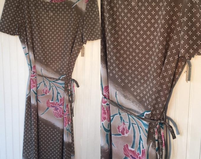 Deadstock Vintage 80s Large Sheer Dress Taupe Light Brown Purple Teal Floral Printed NOSSummer Medium Med M/L 8 10 12 14 38 70s cover up