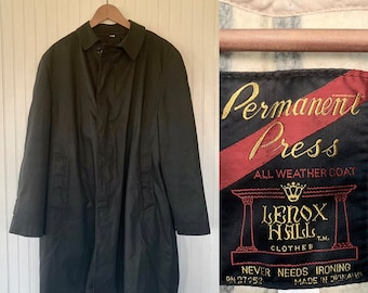 Vintage Black Trench Coat Lennox Hall Permanent Press Removable Wool Lining Rain Jacket 40 R Large Medium L M/L