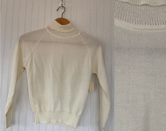 NWT Vintage 80s Small Off White Turtleneck Pullover Knit Sweater Deadstock 70s nos Ivory Textured Sheer Boho Tops XS S