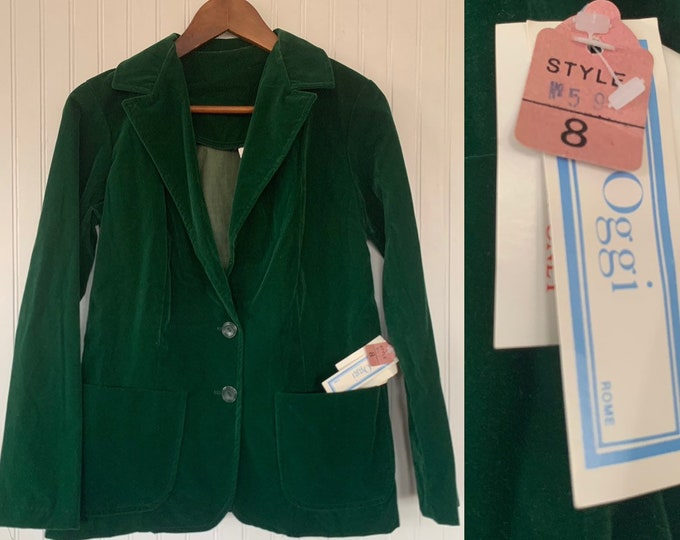 NWT Deadstock Vintage 80s Small Green Blazer Velvet Jacket Pockets XS Jacket S 34 70s NOS Deep V Formal Christmas Party