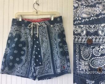90s Vintage Polo Swim Trunks Shorts Ralph Lauren Paisley Bandanna Print Blue White Size 30 Small S S/M Med Medium 32