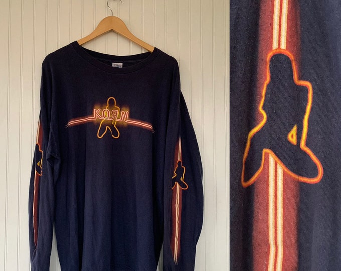 Vintage 90s Korn Long Sleeve Blue Grunge Band Tee Shirt Alternative Metal Stripper Concert Shirt T-Shirt Worn In Rare XL
