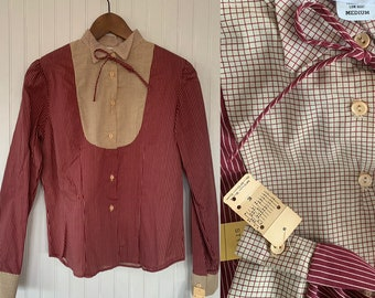 Vintage Deadstock 80s Medium Maroon Red and Beige Striped Bow Neck Puff Sleeve Shirt Button Down Blouse Darts 36 M S/M Small Western Boho