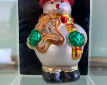 Vintage 90s Handcrafted Glass Snowman Christmas Ornament Holiday Snowmen Ornaments New Original Packaging Tree Decor Gift Gingerbread Man