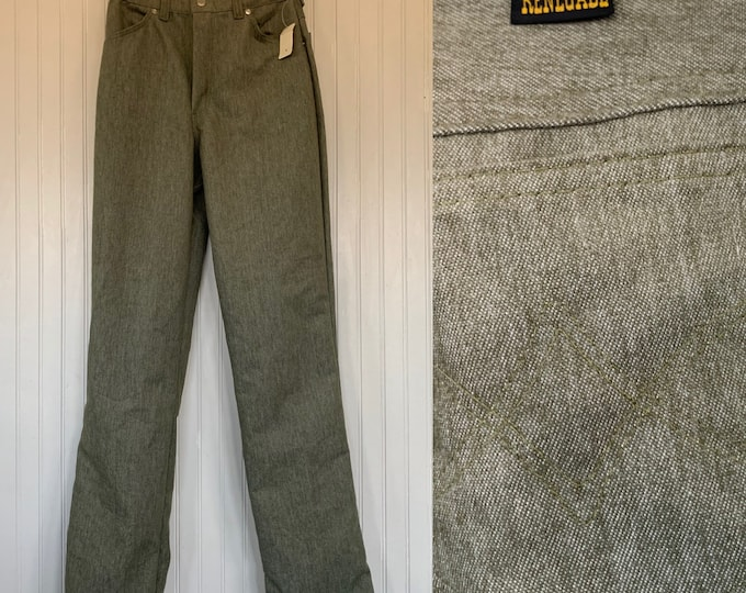 """Vintage 80s Deadstock Renegade Jeans Sage Green High Waisted 28 27 waist 13"""" Rise Stretch Small Trousers Pant 70s 2 4 6 wide leg Nos NWT"""