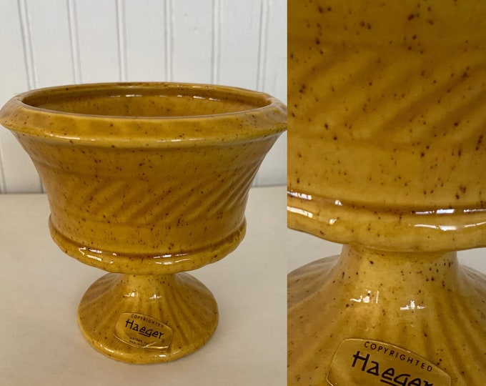 Vintage 60s Haeger Mustard Yellow Planter Vase Pedestal Small Home Decor Wedding Gift Vases Mod Mid Century Indoor Plant Serving Dish