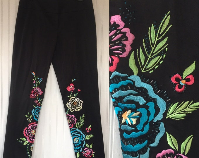 Vintage 90s Cache Black Embroidered Dress Pants Beaded Rainbow Size 8 Nineties Festival