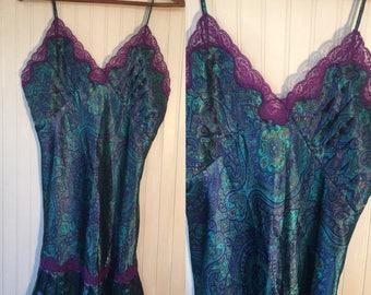 Vintage 90s Size L Victorias Secret Paisley Slip Purple Blue Green Gold Large Nineties Valentine's Gift Bride Bridal Sexy Lingerie Boudoir
