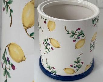 Deadstock Vintage 90s Lemons Floral Vase Ceramic White Blue Winterthur Shabby Chic Rare Home Decor Lemon Wedding Gifts NOS Storage Planter