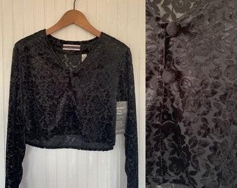 Vintage 90s Sheer Black Floral Velour Crop Top Velvet Burnout Shirt Goth Sweater Shirt 4P Small XS S NWT Deadstock