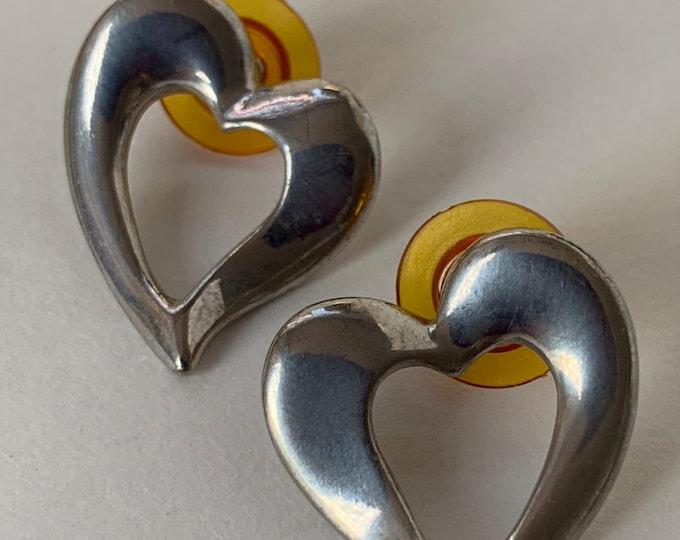 Vintage 90s Deadstock Pierced Earrings Pair Faux Silver Heart Dangling Hollow Hearts Hoops Unique NOS Unworn Nineties Funky