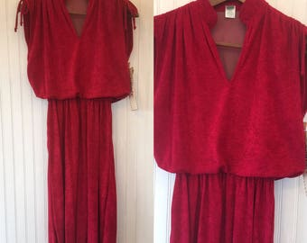Vintage 70s 80s Red Terry Cloth Dress Size 5 / S Fits XS - M NWT from 1979 Deadstock Valentine's Gift Terrycloth Tennis Dress Vacation
