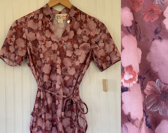 Rare Deadstock 70s Vintage Top Size XS Small Pink Mauve Purple Floral 80s Keyhole Short Sleeves Shirt XS/S Sm 34 Summer NOS cherry blossom