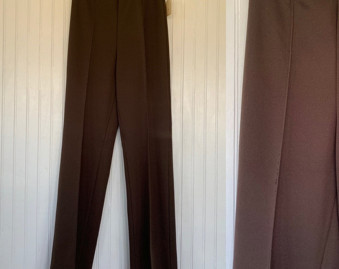 Deadstock Vintage 70s XS Brown Trousers High Waisted Pants Wide Leg 25 26 elastic waist Spring Polyester pant 80s front pleat pleated Comfy